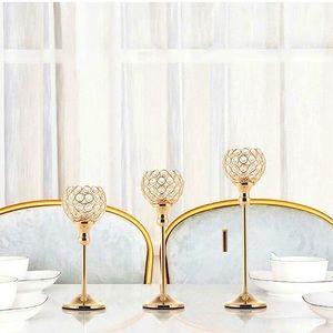 3 Pcs Gold Crystal Candle Holders Candelabra